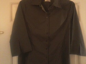 Cato Size 18 Blouse Shirt Button Down Shirt Black & Tan