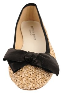 Patricia Green Raffia Upper Leather Bow Leather Insole Made In Italy Ballet Beige and Black Trim Flats