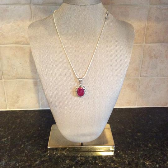Other Ruby Gemstone Pendant Necklace in Sterling Silver Design