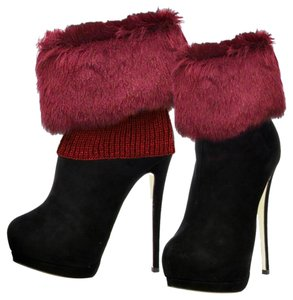Red Fur Top Leg Warmer Boot Socks Boot Topper