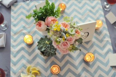 Modern Blue Chevron Tablecloth And Chinese Lantern