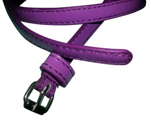 Purple patent leather skinny belt