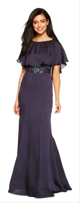 Adrianna Papell Fit And Flare Caplet Jeweled Flowy Full Length Bridesmaids Trumpet Dress
