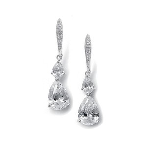 Mariell Vintage Teardrop Bridal Or Bridesmaid Cz Earrings 2014e