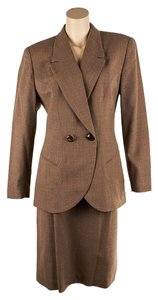 Dior Christian Dior Brown Wool Skirt Suit, Size 12 (53940)