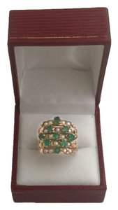 Antique emerald and pearl ring set in 14K rose gold