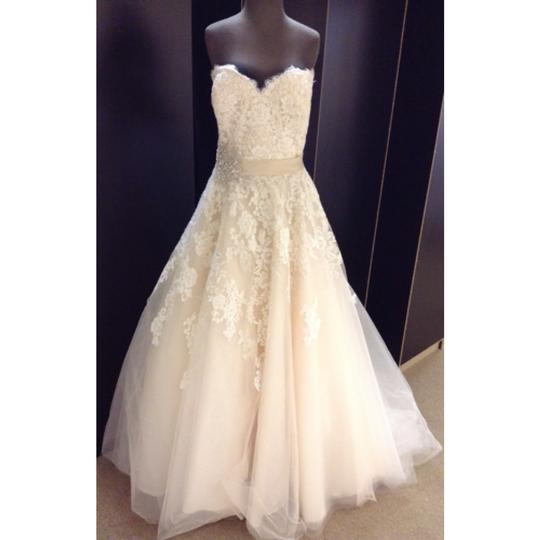 Allure Bridals Ivory/Light Gold Lace & Tulle Formal Dress Size 20 (Plus 1x)