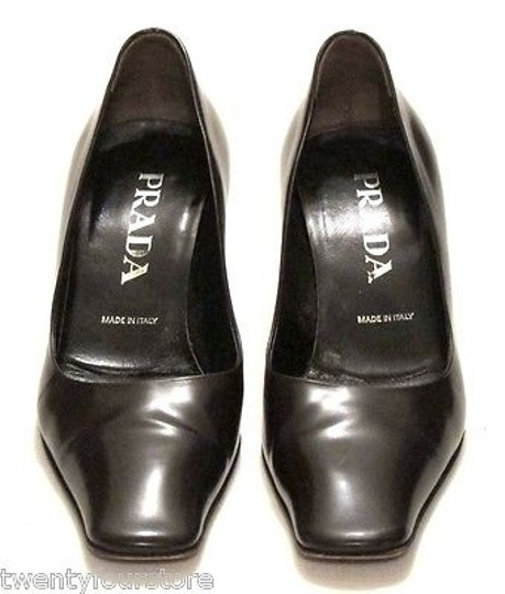 Prada Leather W Long Square Toe Brown Pumps