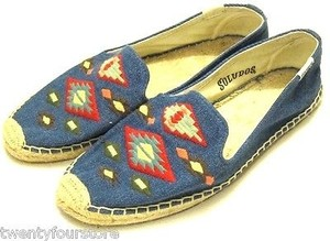 Soludos Denim Tribal Aztec Smoking Slipper Espadrille Blue Flats