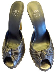 Saks Fifth Avenue Lbd Silver High Heel Dancing Club Pewter Metallic Sandals