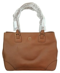 Tory Burch Robinson Ew Large Luggage East West Satchel in Luggage Brown