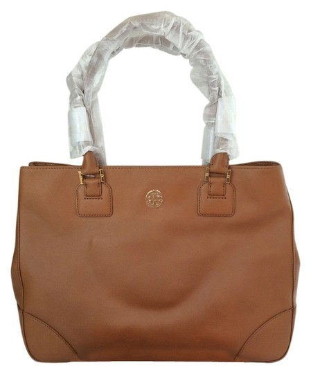 Tory Burch Robinson Ew Large East West Satchel in Luggage Brown