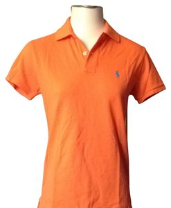 Ralph Lauren T Shirt Orange With Turquoise Pony