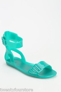 Hunter Boots Ankle Wrap In Turquoise Green Sandals