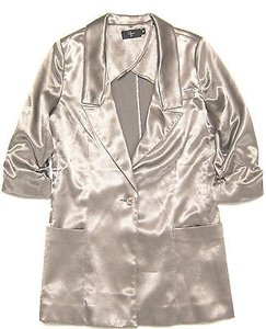 Aqua Aqua Boyfriend Girlfriend Relaxed Ruched Sleeves Blazer Jacket Satin Pewter