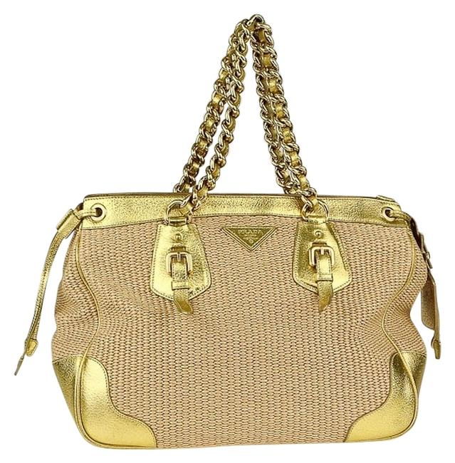 Item - Gold Straw Leather Tote