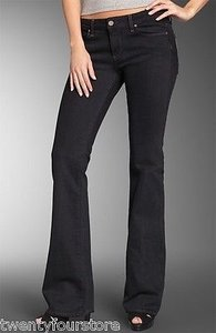 Paige Hollywood Hills In Black Overdye Boot Cut Jeans