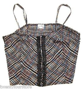 Free People People Intimately Crop Button Front Plaid Top Multi-Color