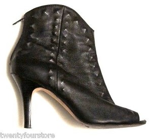 Twelfth St. by Cynthia Vincent Peep Toe Zipper Studded Texture Leather Black Boots