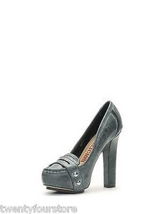 True Religion Jeans Hathaway Loafer Heels Distressed Gray Leather Black Pumps