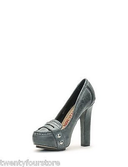 Item - Jeans Shoes Hathaway Loafer Heels Distressed Black Gray Leather