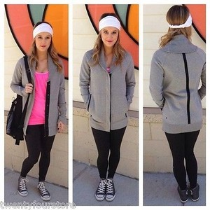 Lululemon Lululemon Yin To My Yang Jacket Open Fleece Sweatshirt Cardigan In Light Grey