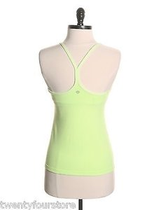 Lululemon Lululemon Power Y Tank Top In Zap Neon Yellow Green W Cups