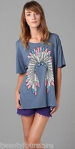 Wildfox Summer Headdress Oversized In 1 T Shirt Blue