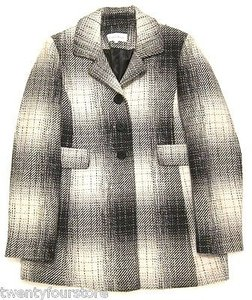 Calvin Klein Wool Blend Black White Plaid Three Button Coat