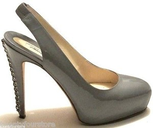 Brian Atwood Milena Patent Leather Platform Chain Heel Gray Pumps