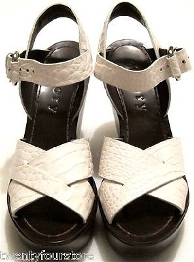 Theory Sabrina Wood Reptile Leather Textured In Bleach Ivory Platforms