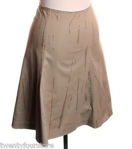 Prada A Line Khaki Printed Stretch Skirt Beige