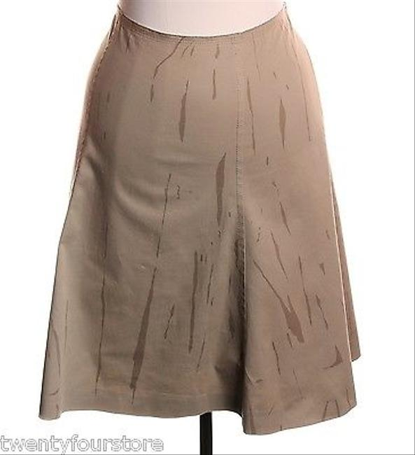 Prada Line Khaki Printed Stretch Skirt Beige