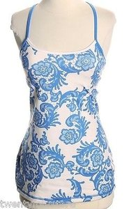 Lululemon Lululemon Power Y Tank In Laceoflage Floral Print Beaming Blue W Cup Inserts