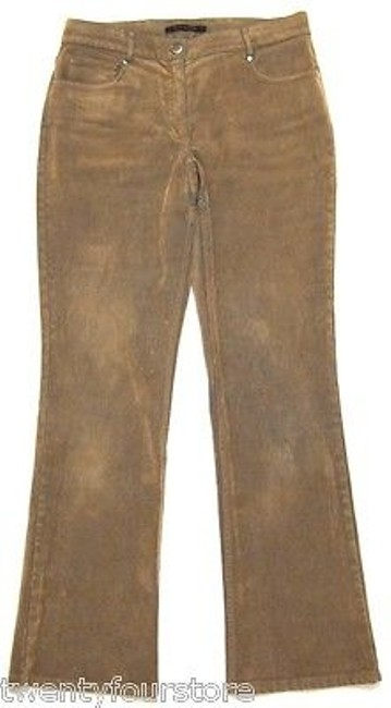 Elie Tahari Corduroy Tone Tan With Blue Base Layer Boot Cut Jeans