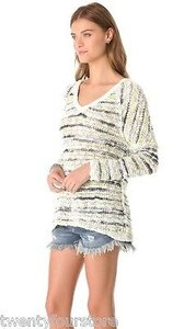 Free People People Songbird Marled Oversized Shaggy Stripe Sweater