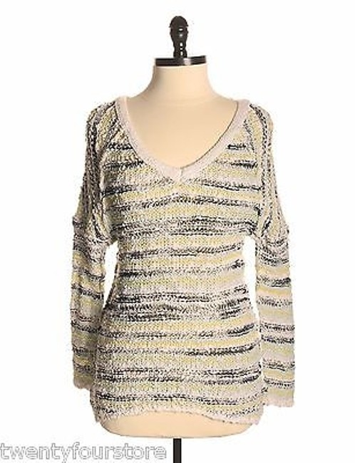 Free People Songbird Marled Oversized Shaggy Stripe Sweater