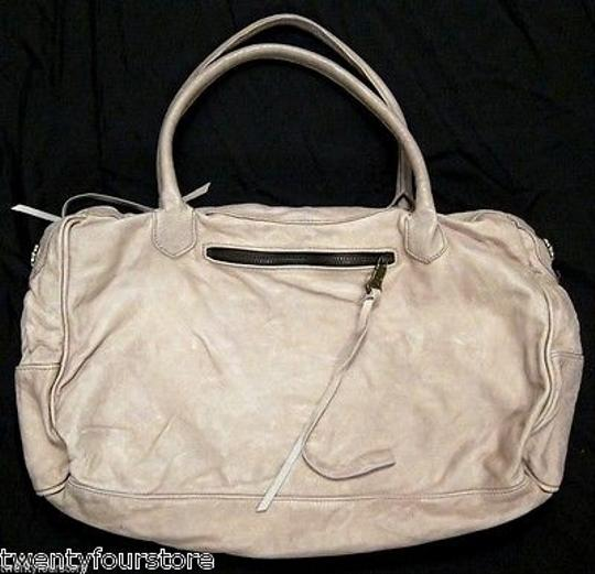 Tylie Malibu Taupe Leather Duffle Style Satchel in Gray