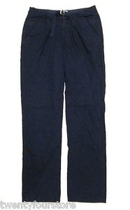 Loomstate Act Natural Organic Belted Casual Straight Leg Navy Pants