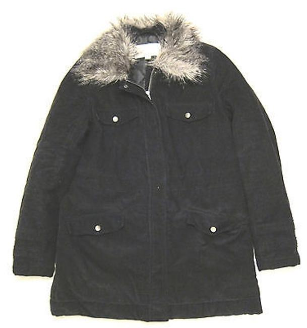 French Connection Style Insulated Corduroy Parka With Faux Fur Collar Coat