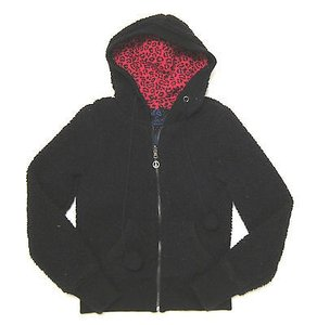 Jack By Bb Dakota Reversible Red Leopard Curly Fleece Sweatshirt