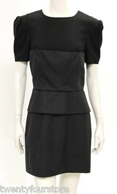 Preload https://item3.tradesy.com/images/bird-by-juicy-couture-peplum-dress-in-black-gray-wool-layers-6039667-0-0.jpg?width=400&height=650