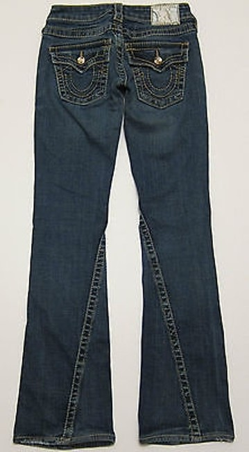 True Religion Joey Big T Gold Disco Bling In Dark Drifter 23 Flare Leg Jeans