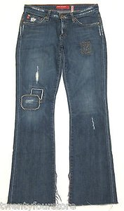 Big Star Super In A Dark Destroyed Patch Repair Wash Boot Cut Jeans