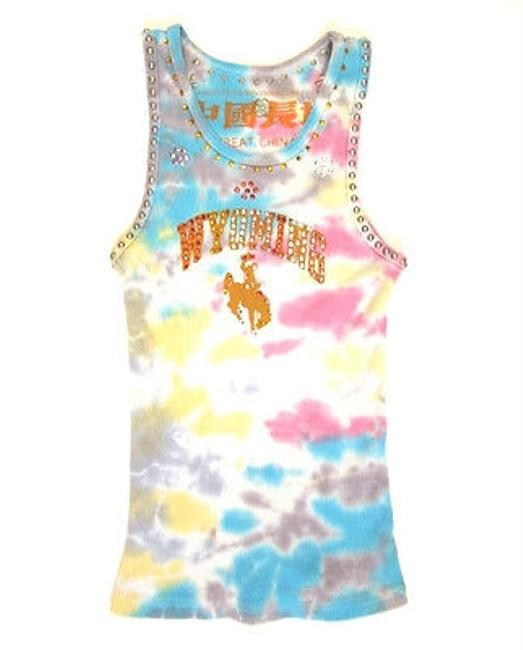 The Great China Wall Tie Dye Ribbed Tank Wyoming Crystal Studs T Shirt Multi-Color