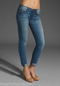 Current/Elliott Rolled Crop In Blue Chip 27 Skinny Jeans