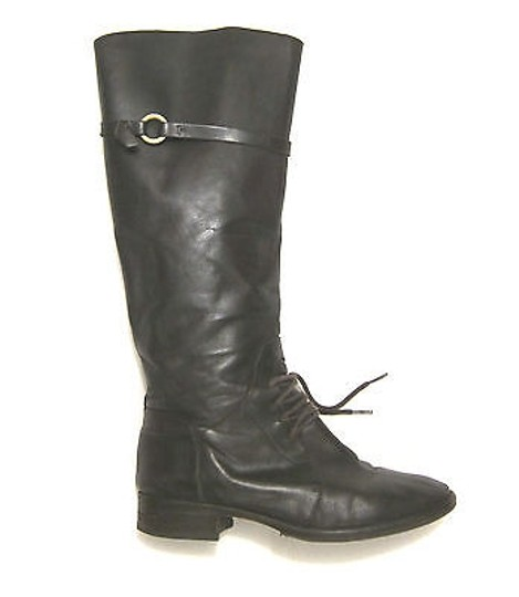 Joie Martha Riding Knee High Lace Strap In Leather Brown Boots