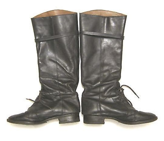 Joie Martha Riding Knee High Lace Strap Leather Brown Boots