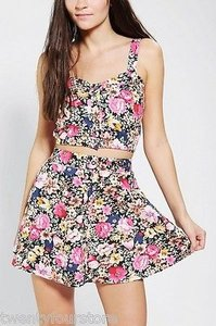 Reverse By Urban Outfitters Floral Two Piece Crop Top Mini Skirt Multi-Color