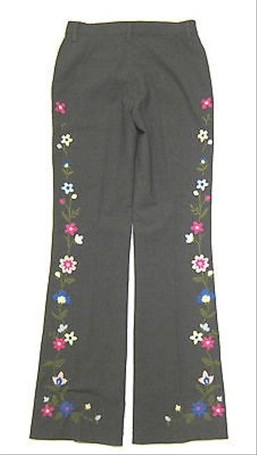 Moschino Bootcut Trouser Stretch Wool Flower Floral Embroidery Pants